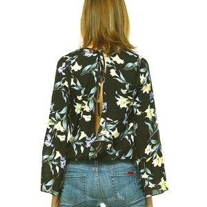 FLORAL PRINT BLOUSE WITH OPEN BACK